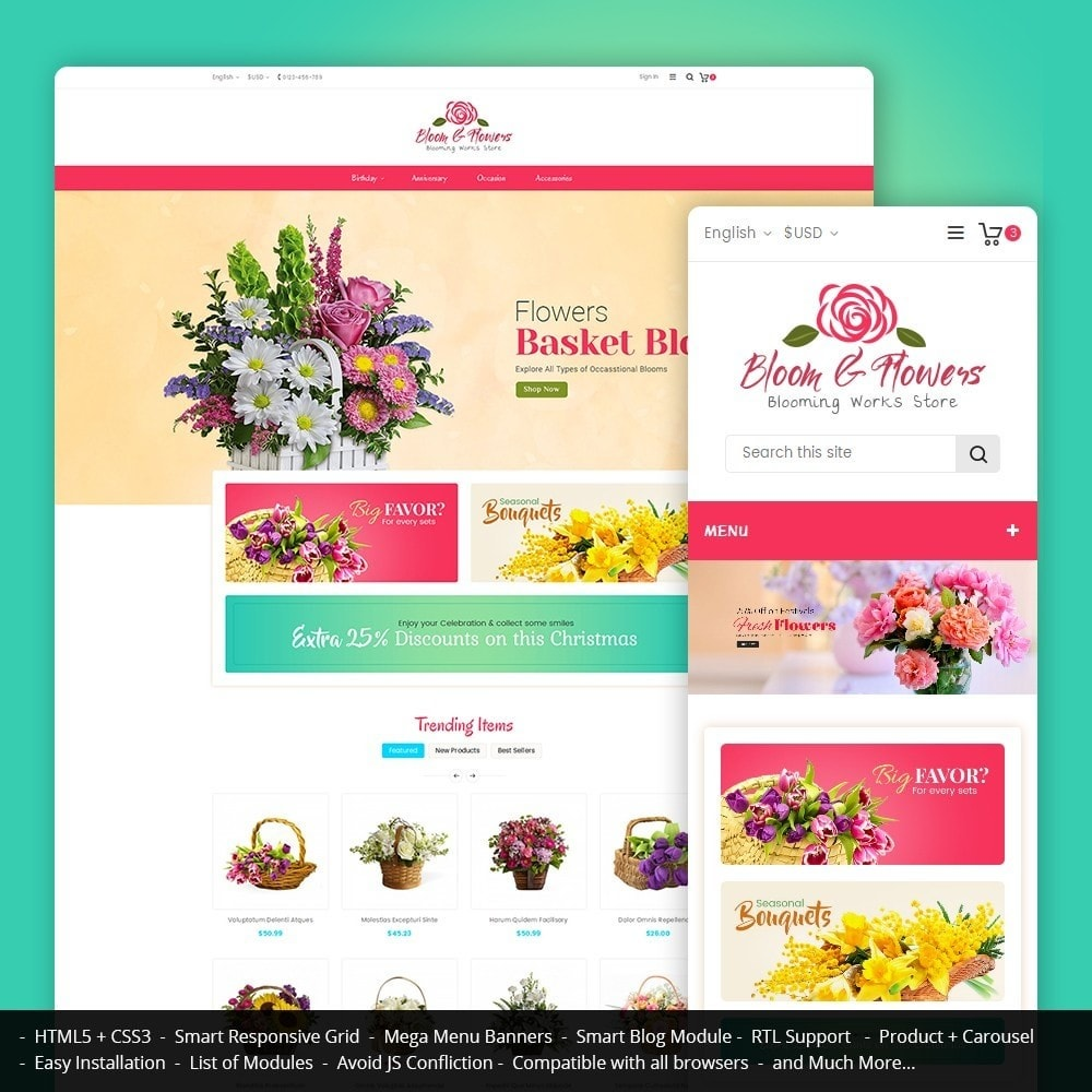 theme - Regalos, Flores y Celebraciones - Bloom Flower Store - 1