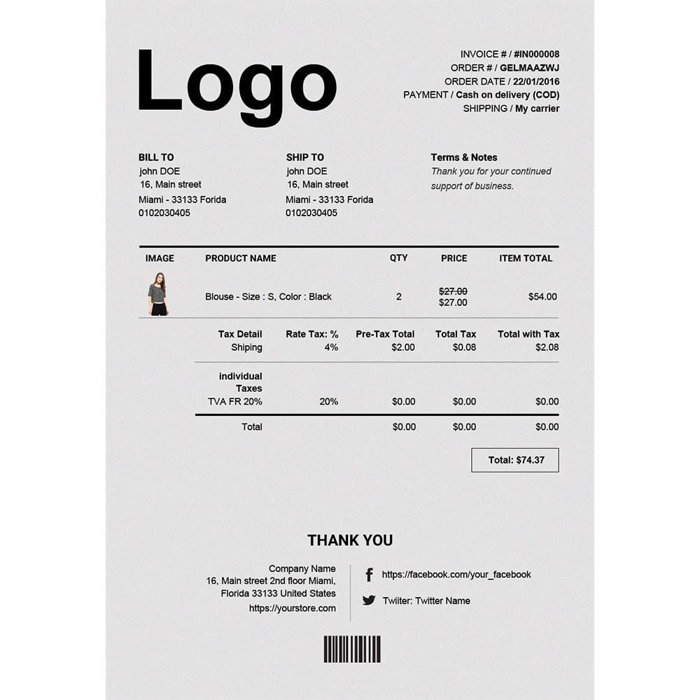 module - Buchhaltung & Rechnung - Erweiterte Rechnung & Lieferung PDF Template Builder - 1