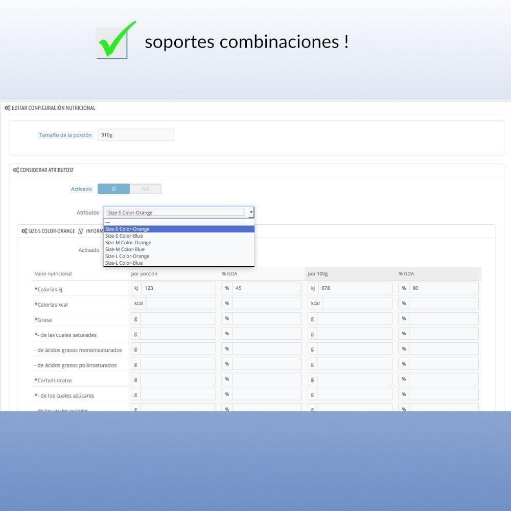 module - Gastronomía y Restaurantes - Tabla nutricional en línea por el FIC - 3