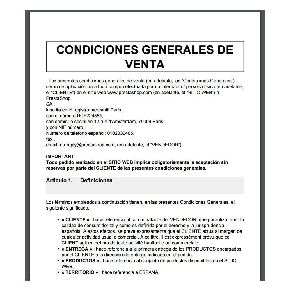 module - Legal - Custom Terms and Conditions for Spain - GDPR Compliant - 3