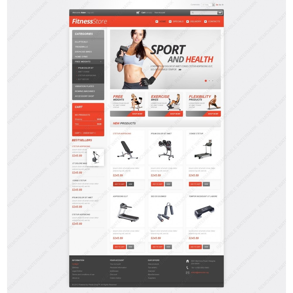 theme - Спорт и Путешествия - White Fitness PrestaShop Theme by Hermes - 3