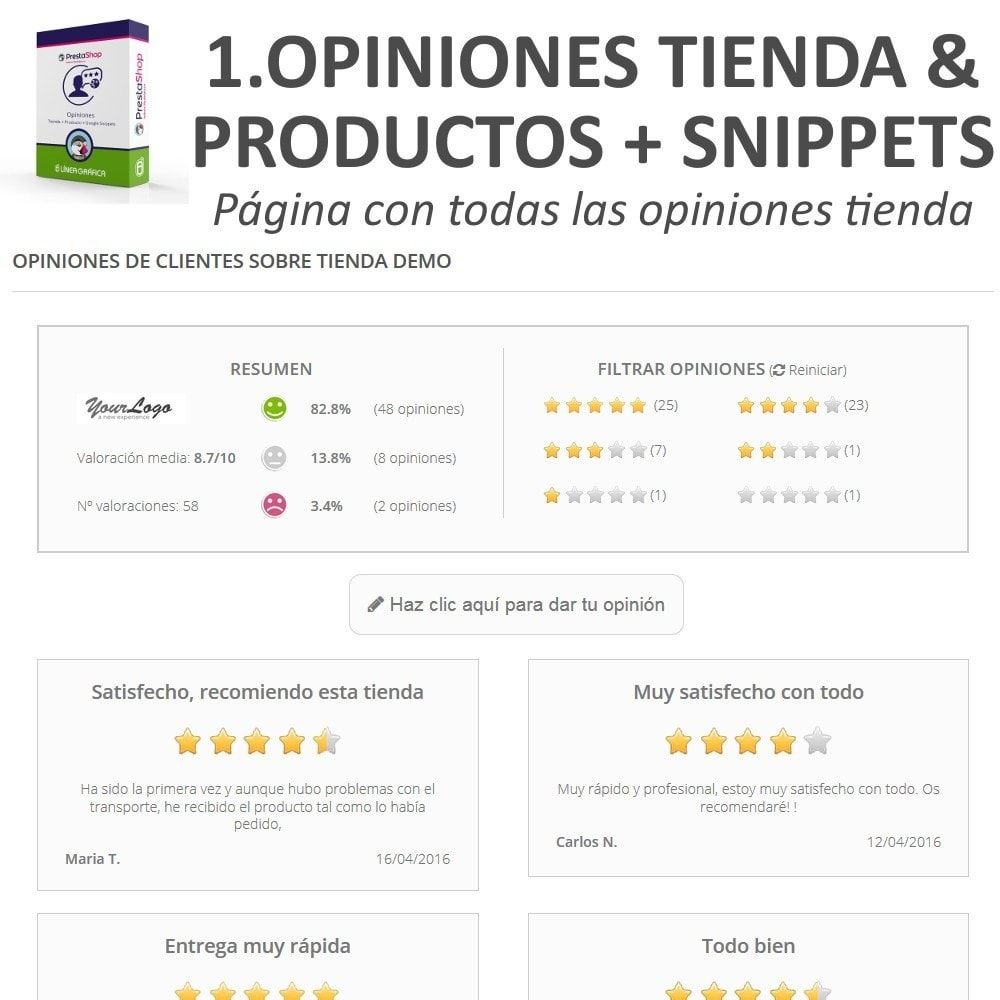 bundle - Comentarios de clientes - Confianza - Tranquiliza a tus Clientes - 3 Módulos - 4
