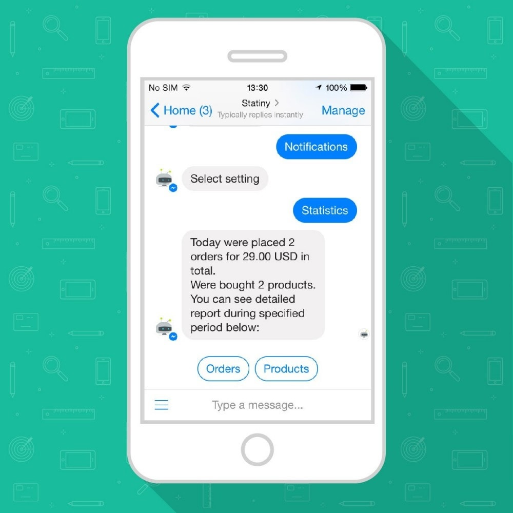 module - E-Mails & Benachrichtigungen - Track Store Sales in FB Messenger or Telegram Chatbot - 4
