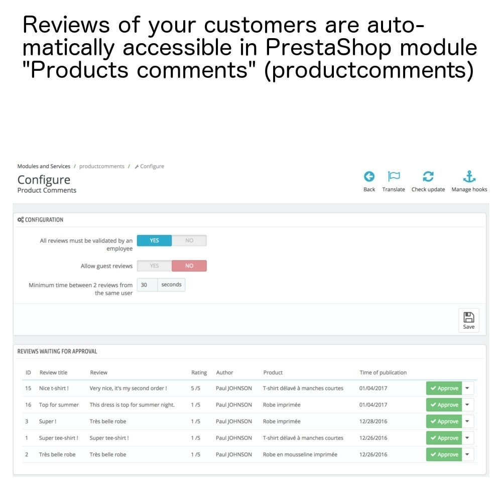 module - Recensioni clienti - Products reviews in only one page and e-mails ! - 6