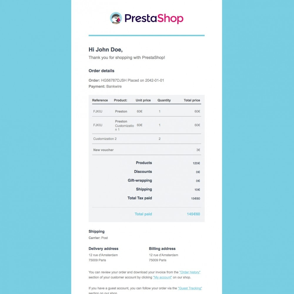 email - Email templates PrestaShop - Sendy - Email template by PrestaShop - 3