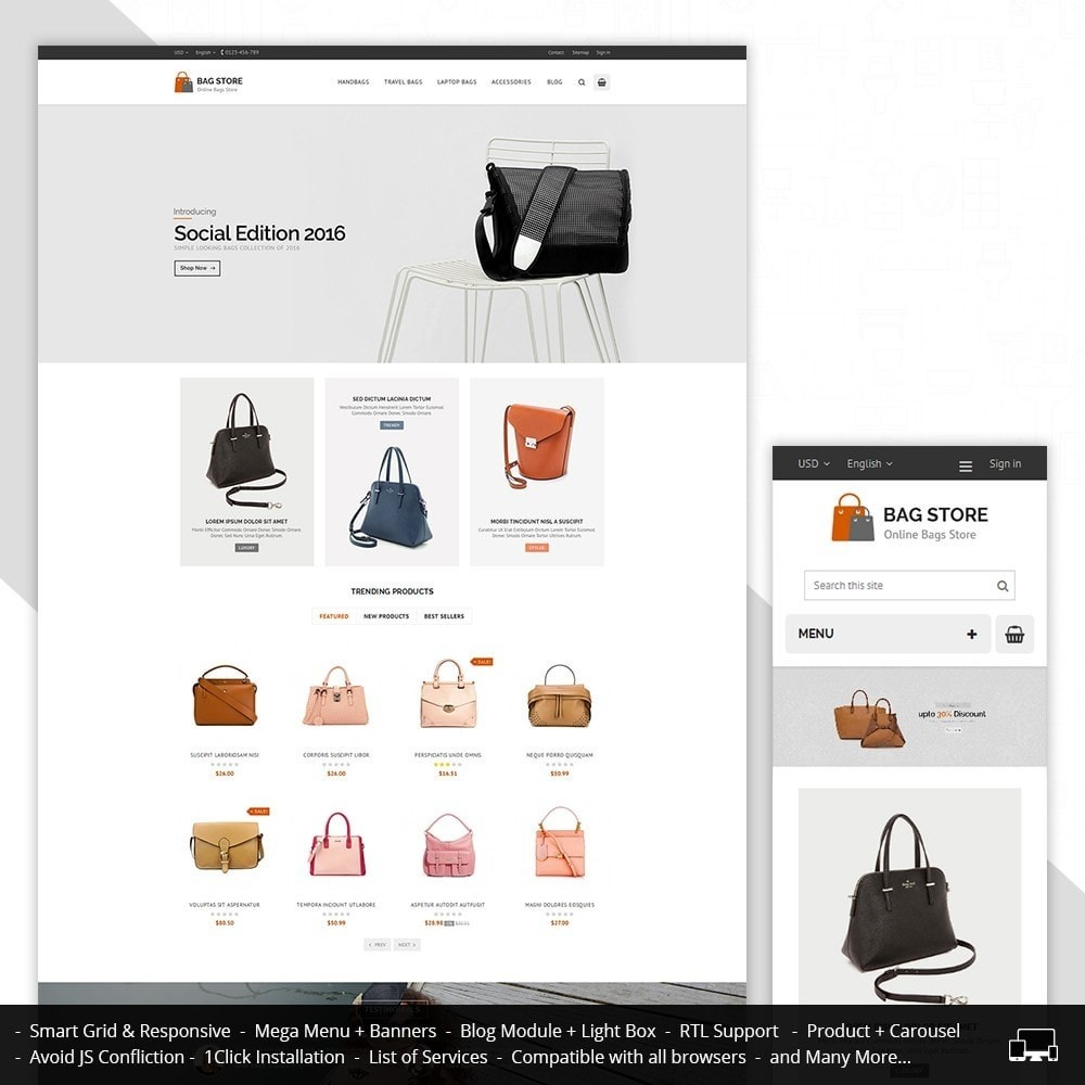 theme - Fashion & Shoes - Bags Store - 1