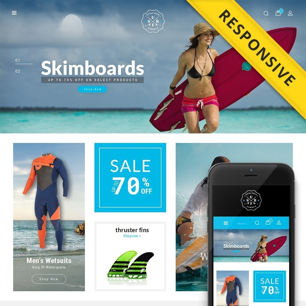 theme - Deportes, Actividades y Viajes - Surf Summer Online Store - 1