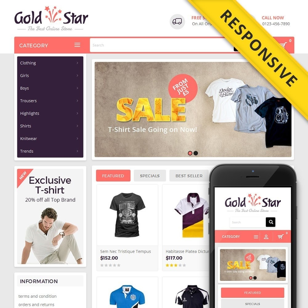 theme - Moda & Calzature - Gold Star T-Shirt Store - 1