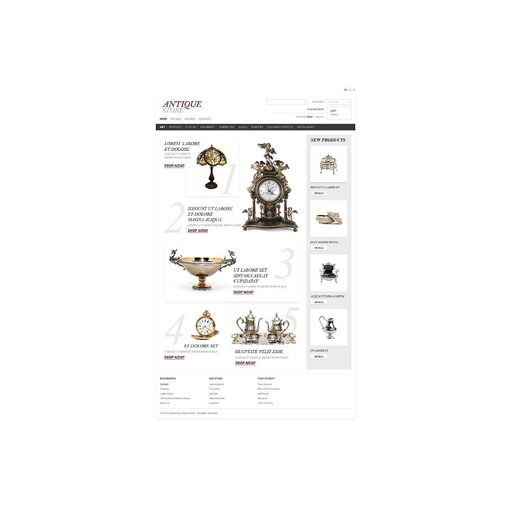 theme - PrestaShop Templates - Antique Items World - 1