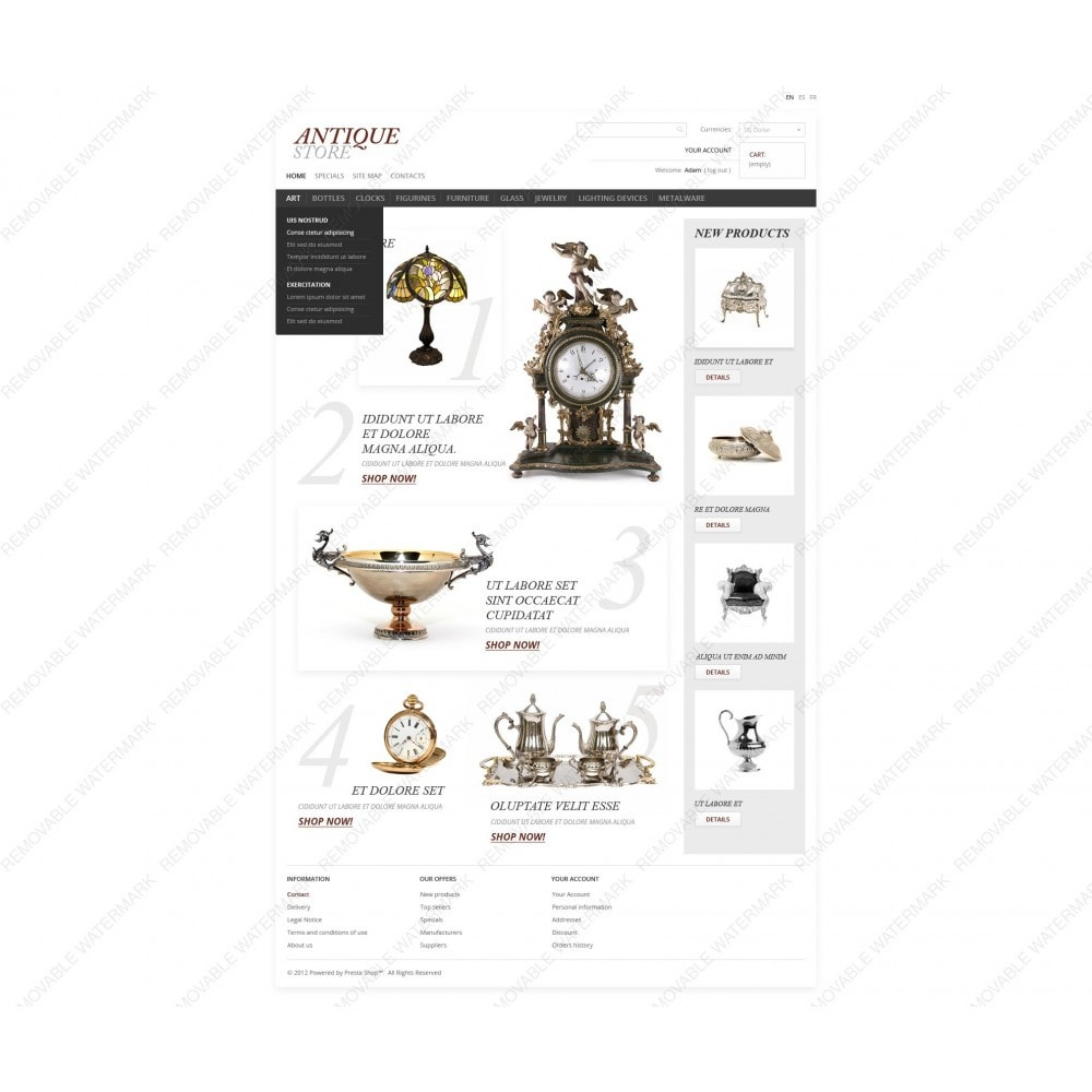 theme - Шаблоны PrestaShop - Antique Items World - 3