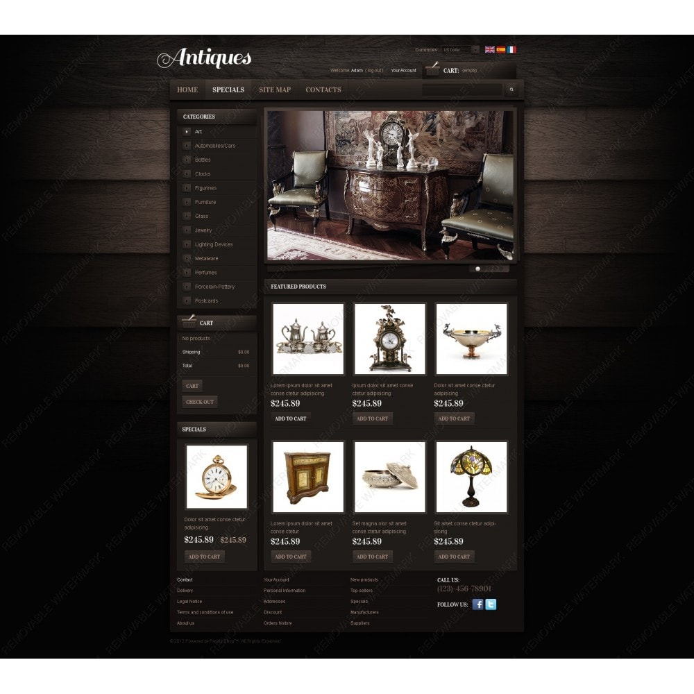 theme - PrestaShop Templates - Antiques Online - 3