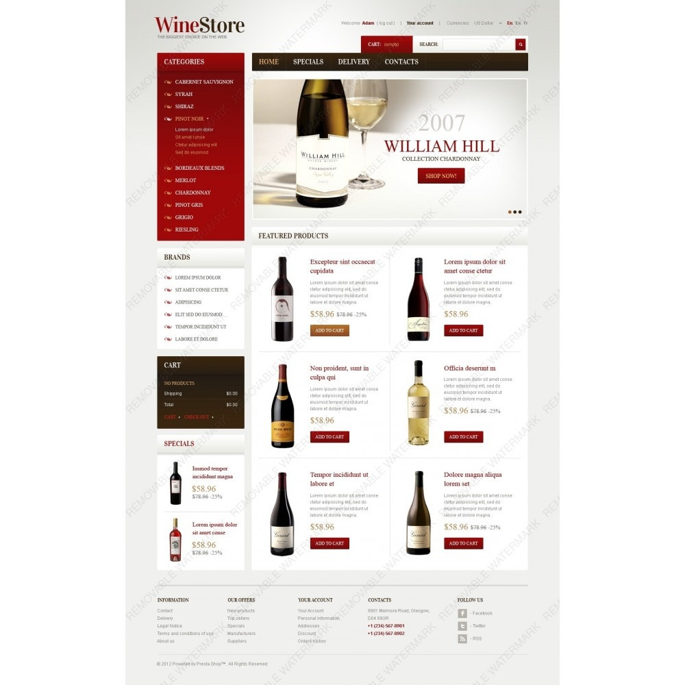 theme - Шаблоны PrestaShop - Wines for Gourmets - 6