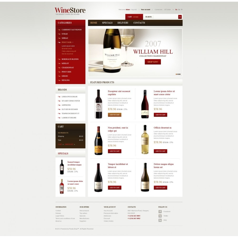 theme - Шаблоны PrestaShop - Wines for Gourmets - 7