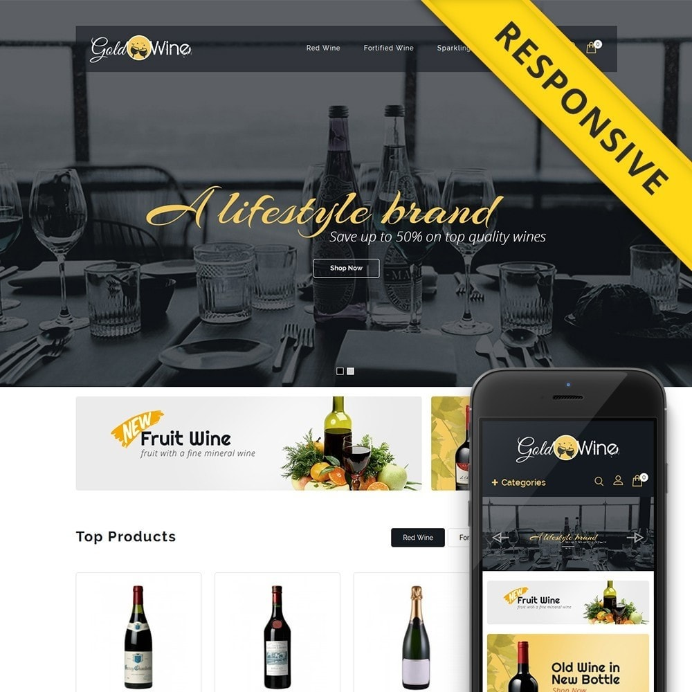 theme - Boissons & Tabac - Gold Wine Store - 1