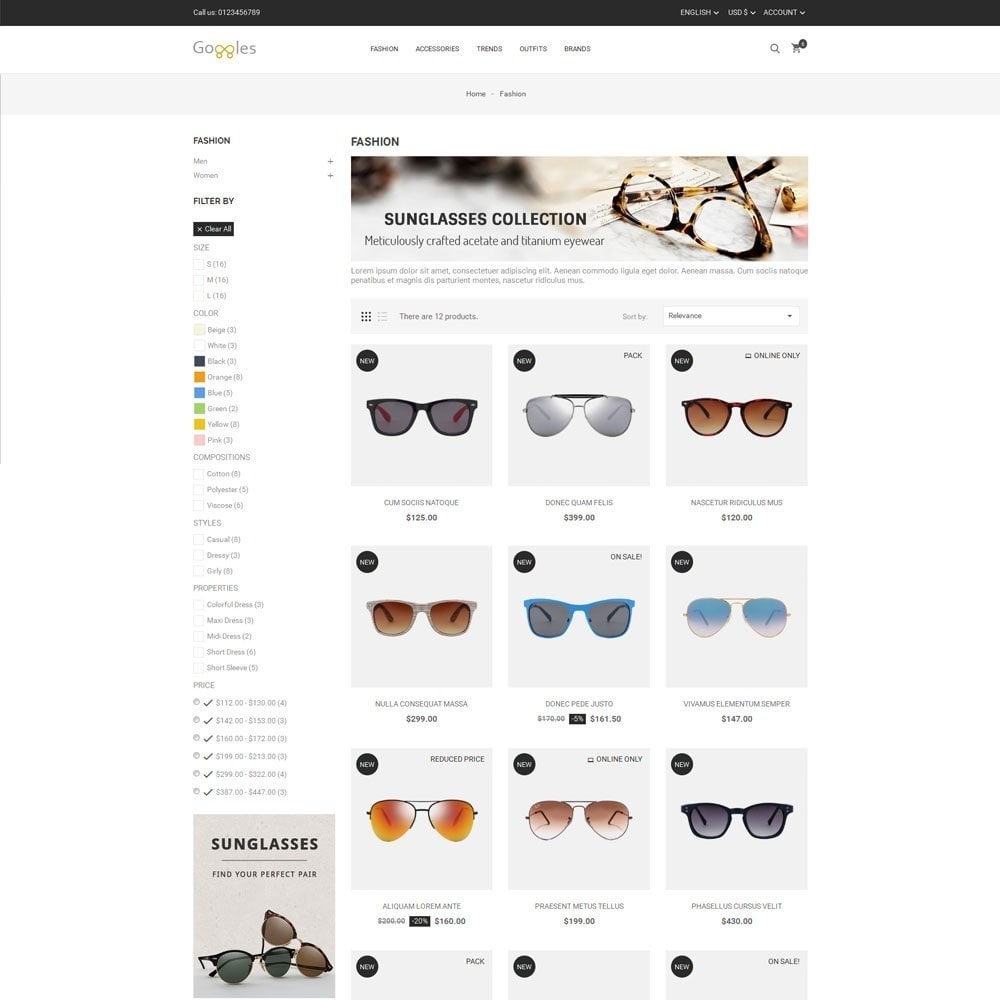 theme - Fashion & Shoes - Goggles Store - 3