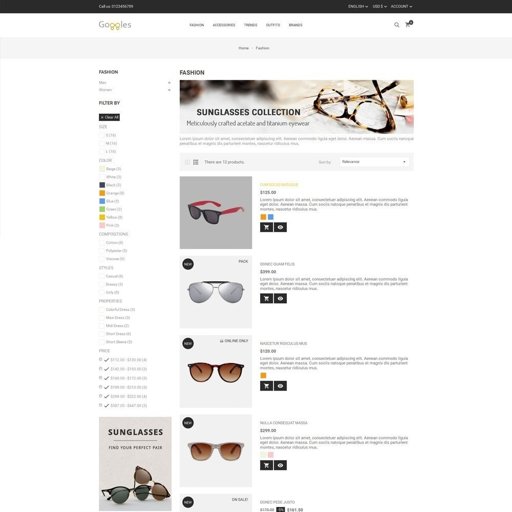 theme - Fashion & Shoes - Goggles Store - 4