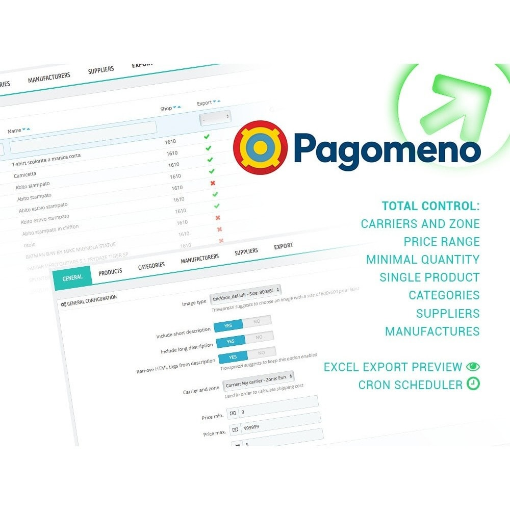 module - Comparateurs de prix - Export to Pagomeno - 1