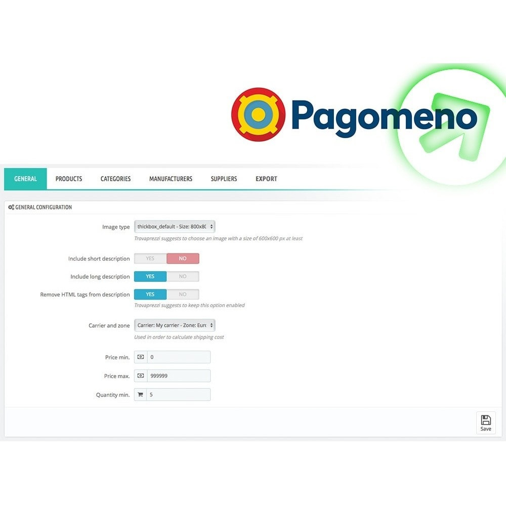 module - Comparateurs de prix - Export to Pagomeno - 2