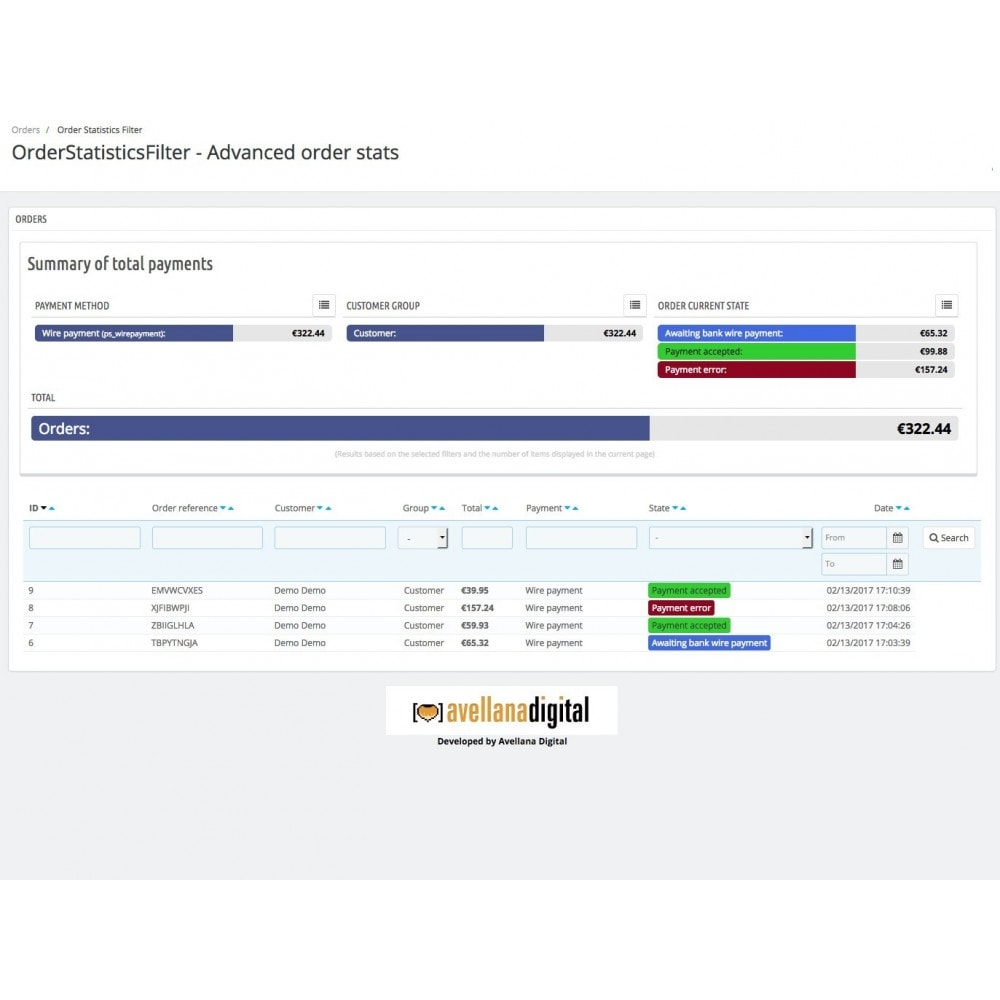module - Informes y Estadísticas - Filtro de estadísticas de pedidos - 1