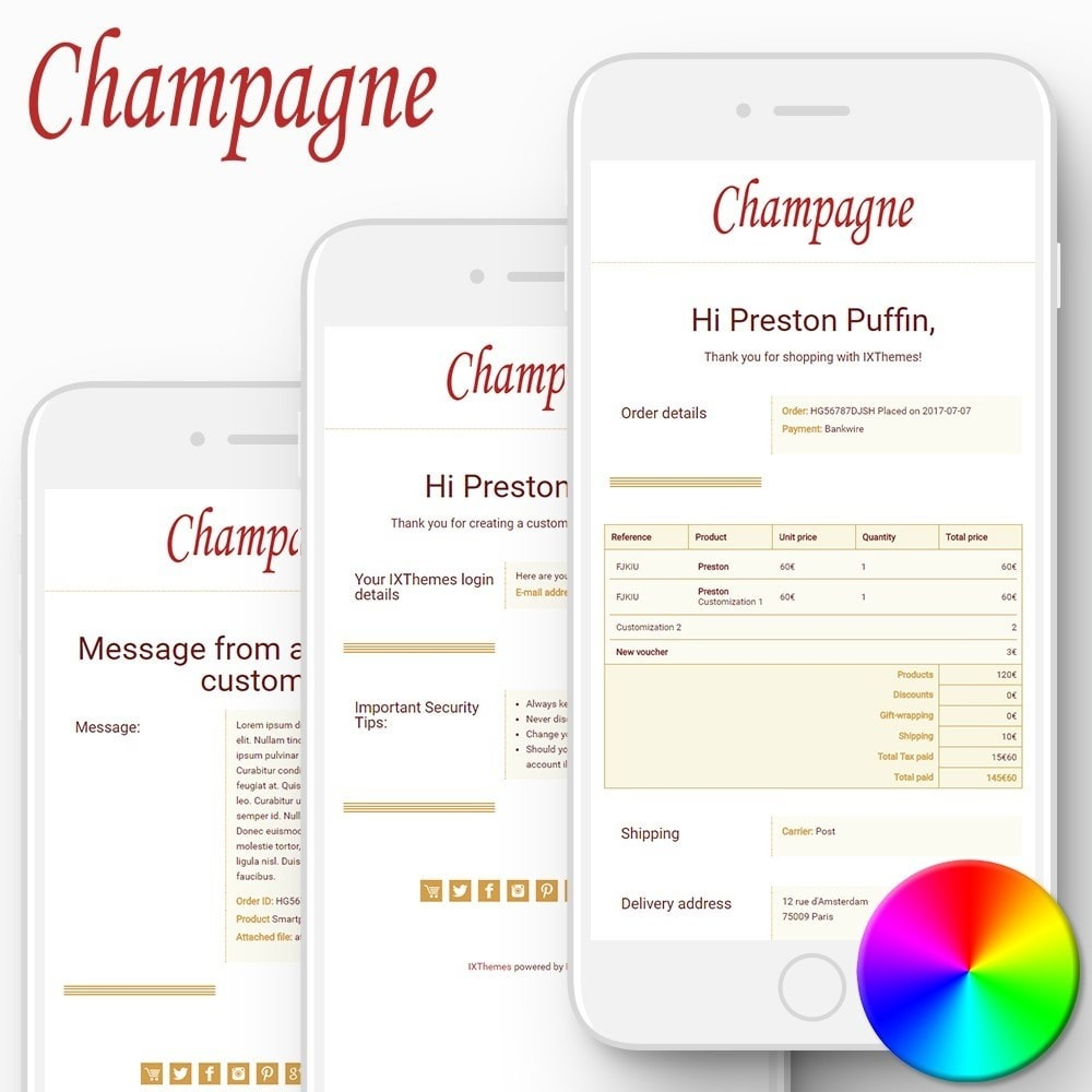 email - Szablony e-mail PrestaShop - Champagne - Email templates - 1