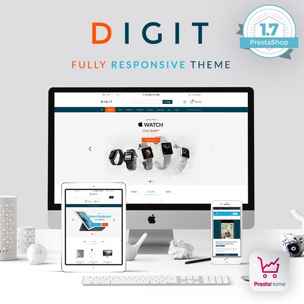theme - Электроника и компьютеры - Digit - electronic, gadgets, phones - by PrestaHome - 1