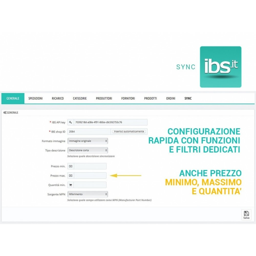 module - Marketplace - Sincronizza PrestaShop con il marketplace IBS.it - 5