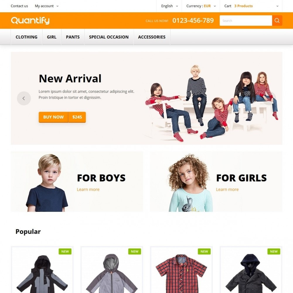 theme - Kinder & Spielzeug - Quantify - Kids Clothes - 1