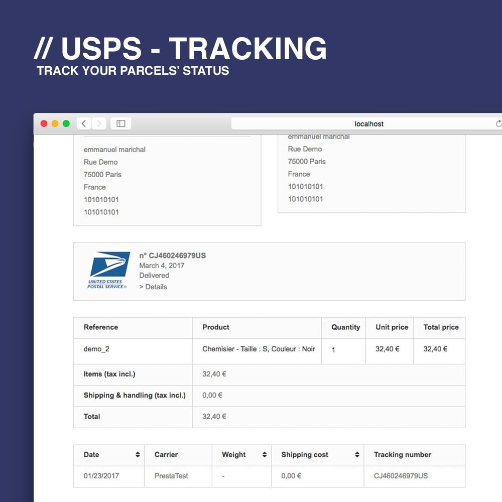 module - Delivery Tracking - USPS tracking - 2