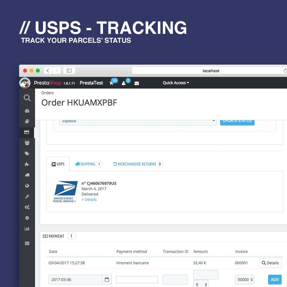 module - Delivery Tracking - USPS tracking - 3