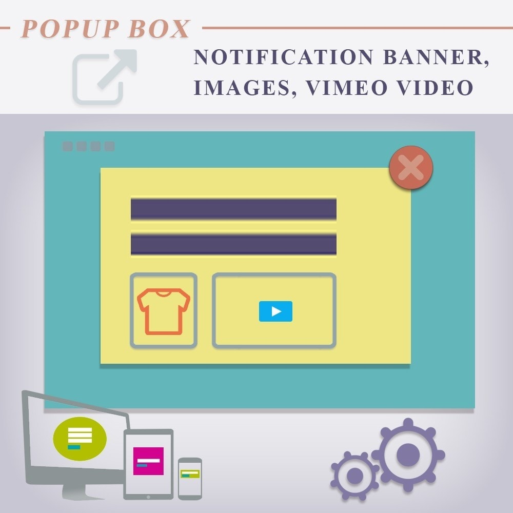 module - Dialoogvensters & Pop-ups - Popup box notification Banner, Images, Vimeo Video - 1