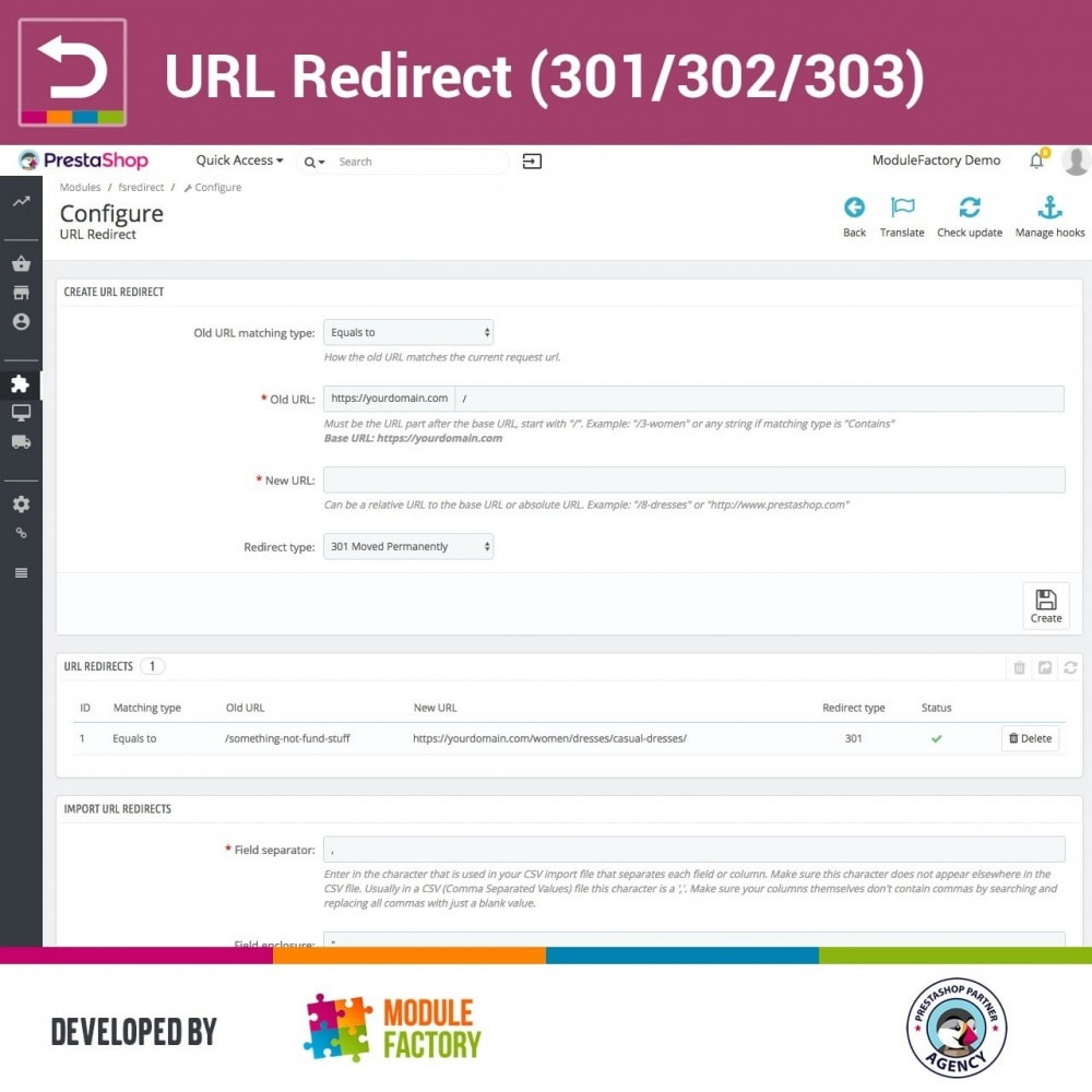 module - URL & Redirections - URL Redirect (301/302/303) - 1