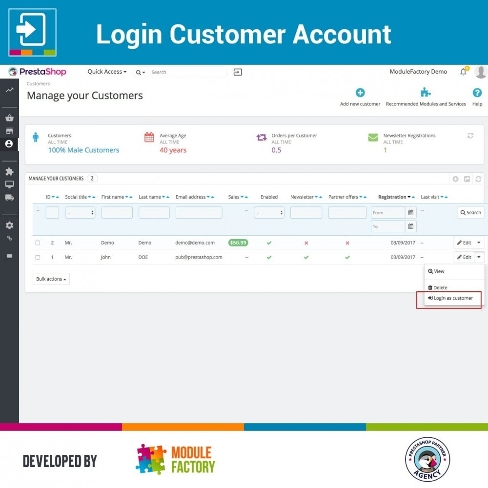 module - Servicio posventa - Login Customer Account - 2