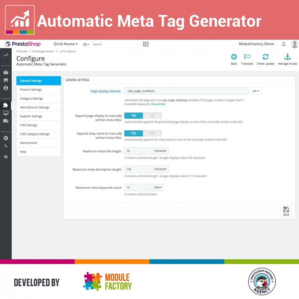 module - SEO (Referenciamento natural) - Automatic Meta Tag Generator for better SEO - 1