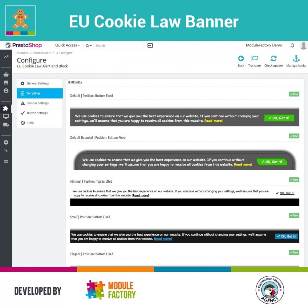 module - Marco Legal (Ley Europea) - EU Cookie Law Alert Banner and Cookie Blocker - 6