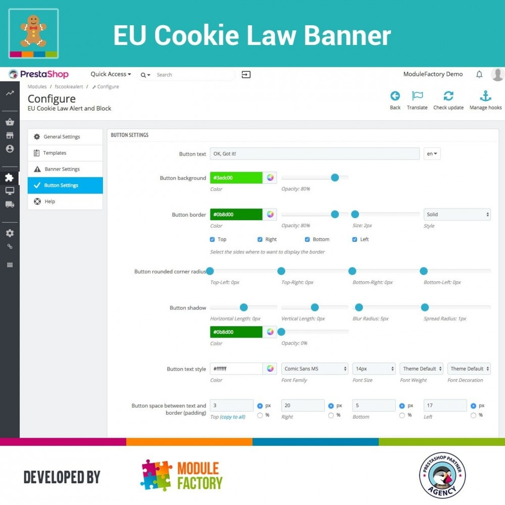 module - Jurídico - EU Cookie Law Alert Banner and Cookie Blocker - 8