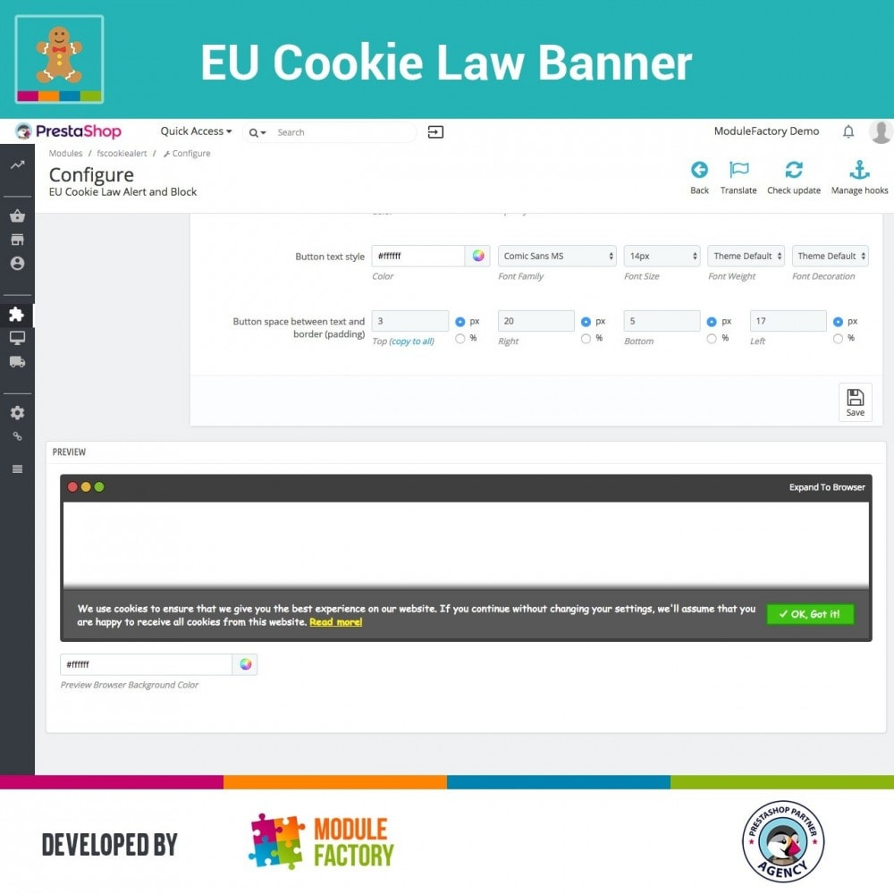 module - Jurídico - EU Cookie Law Alert Banner and Cookie Blocker - 9