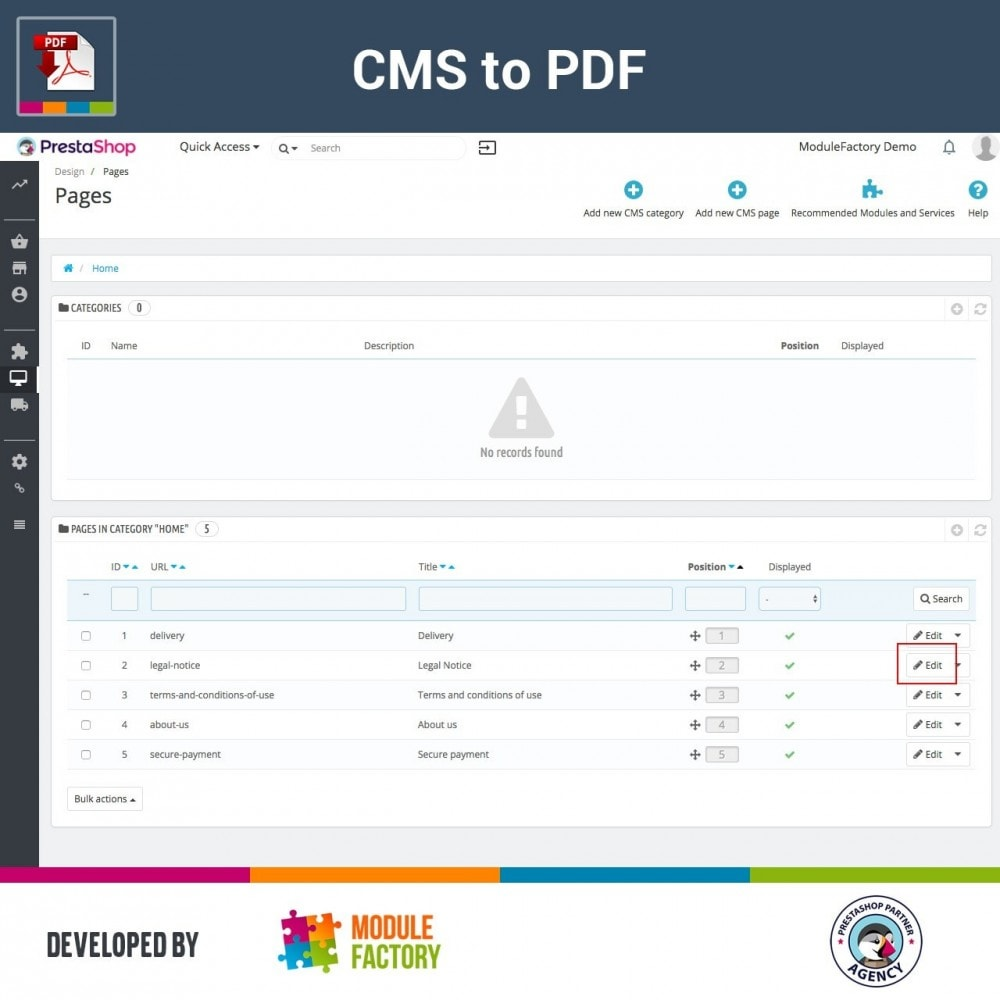 module - Personnalisation de Page - CMS Content to Downloadable PDF - 3