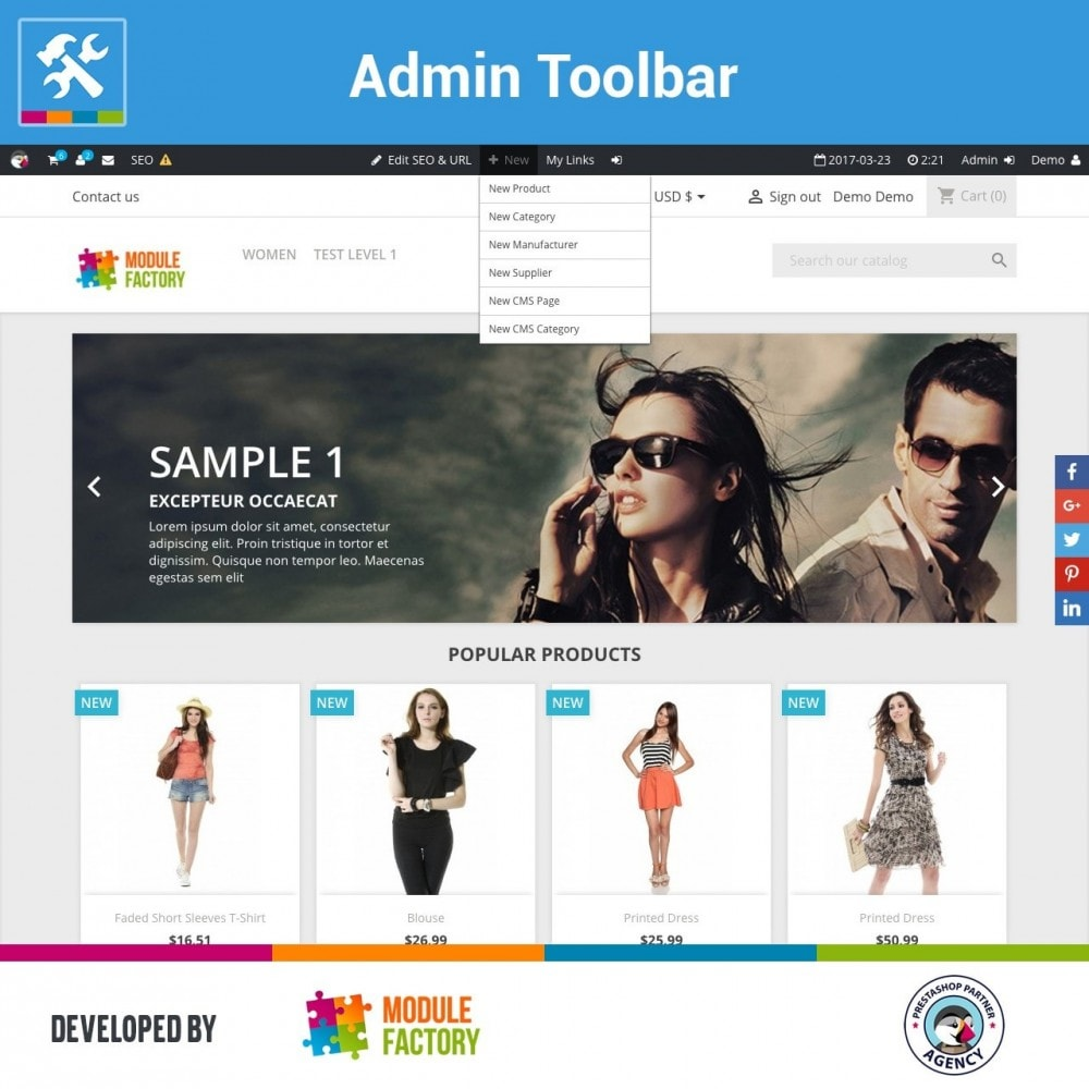 module - Administrationstools - Admin Toolbar in Front Office - 2