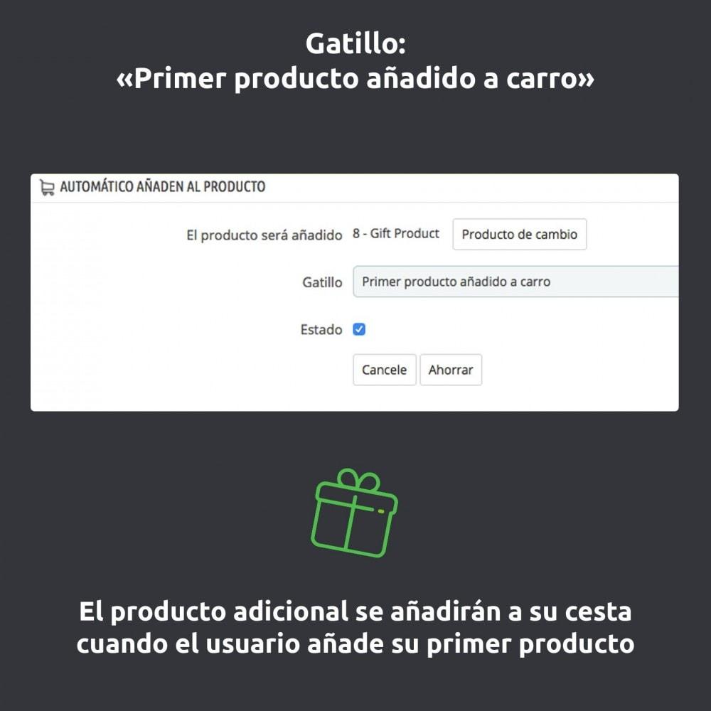 module - Inscripción y Proceso del pedido - Automático añaden al producto/ seguro/ regalos al carro - 5