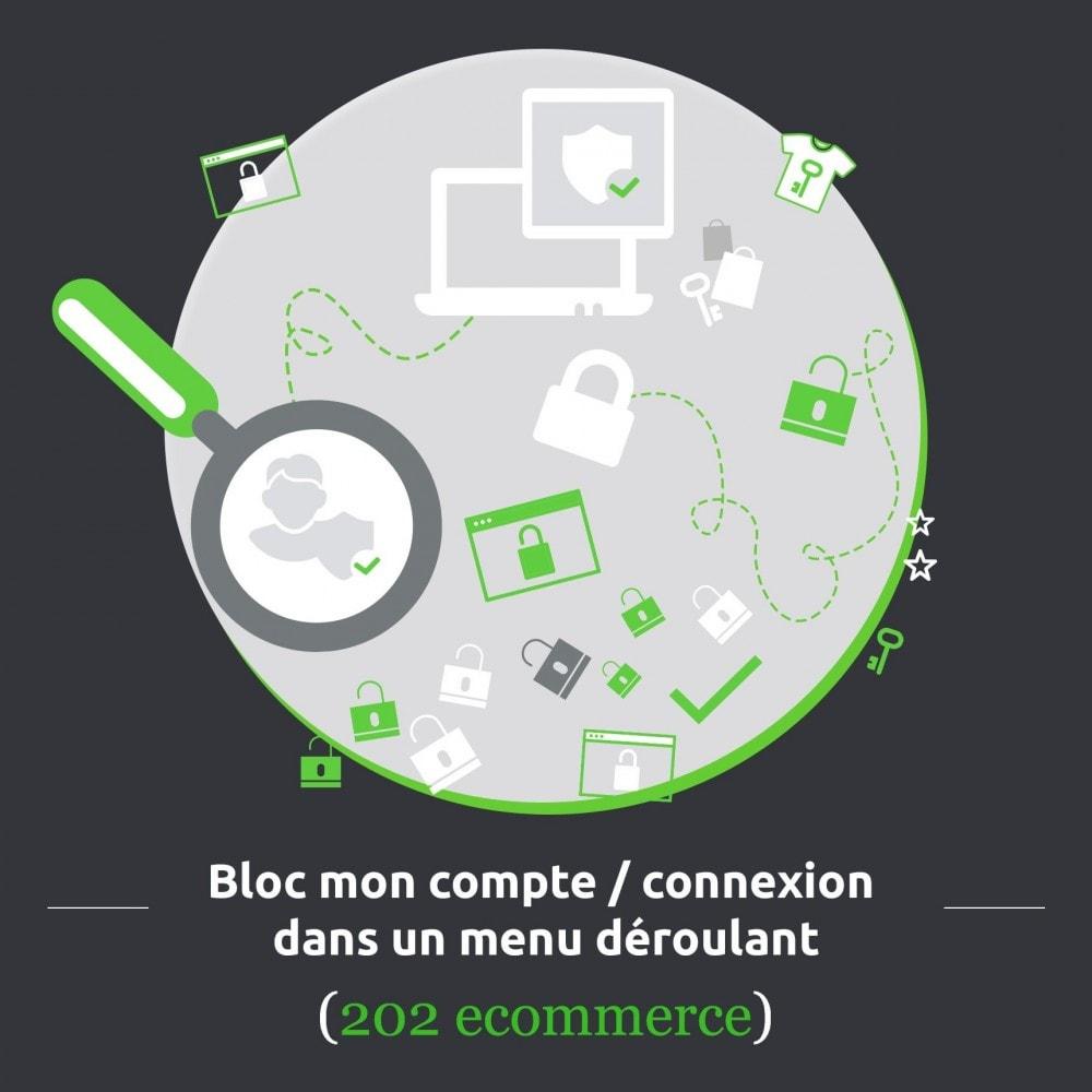 module - Inscription & Processus de commande - Bloc mon compte / connexion dans un menu déroulant - 1