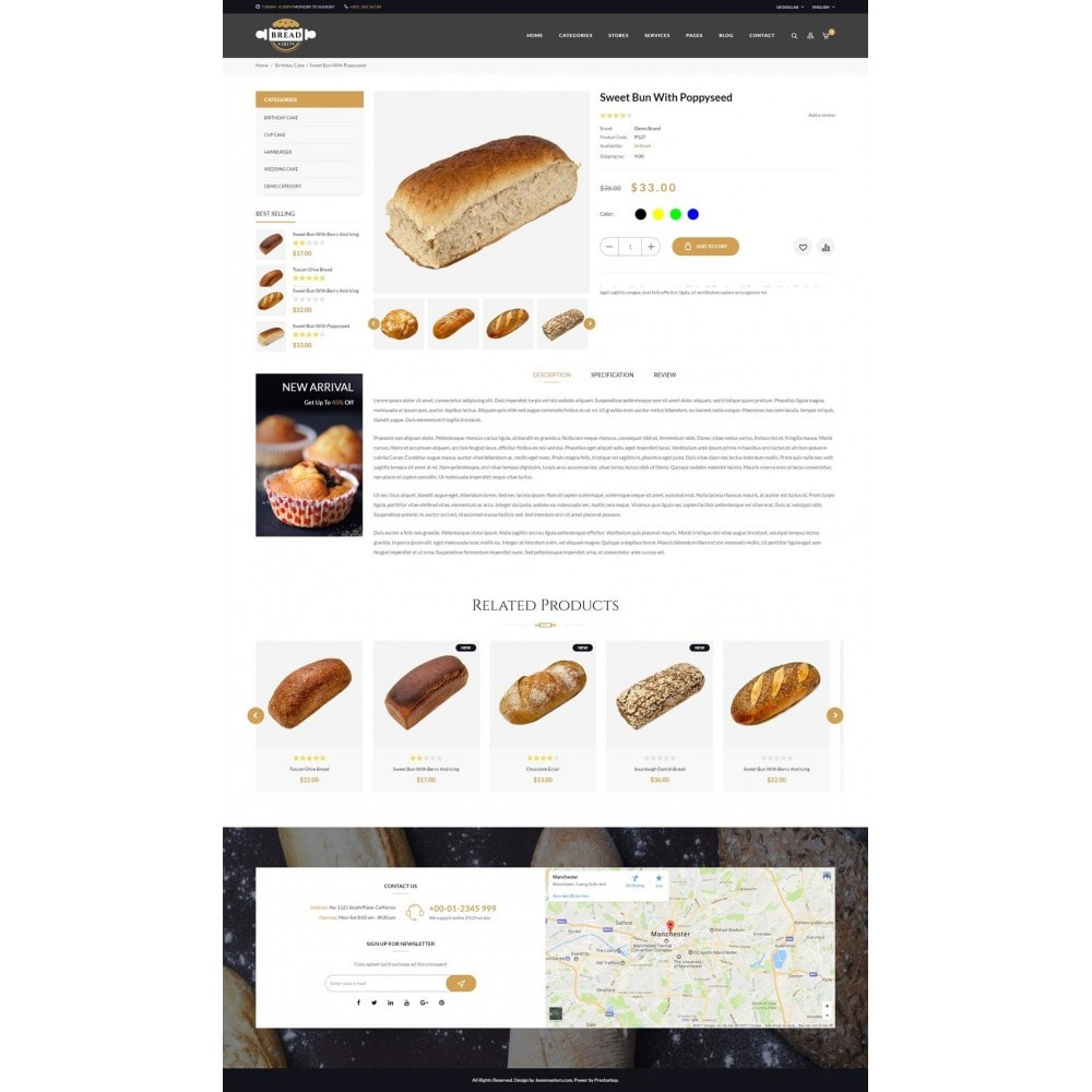 theme - Food & Restaurant - JMS Bread - 10
