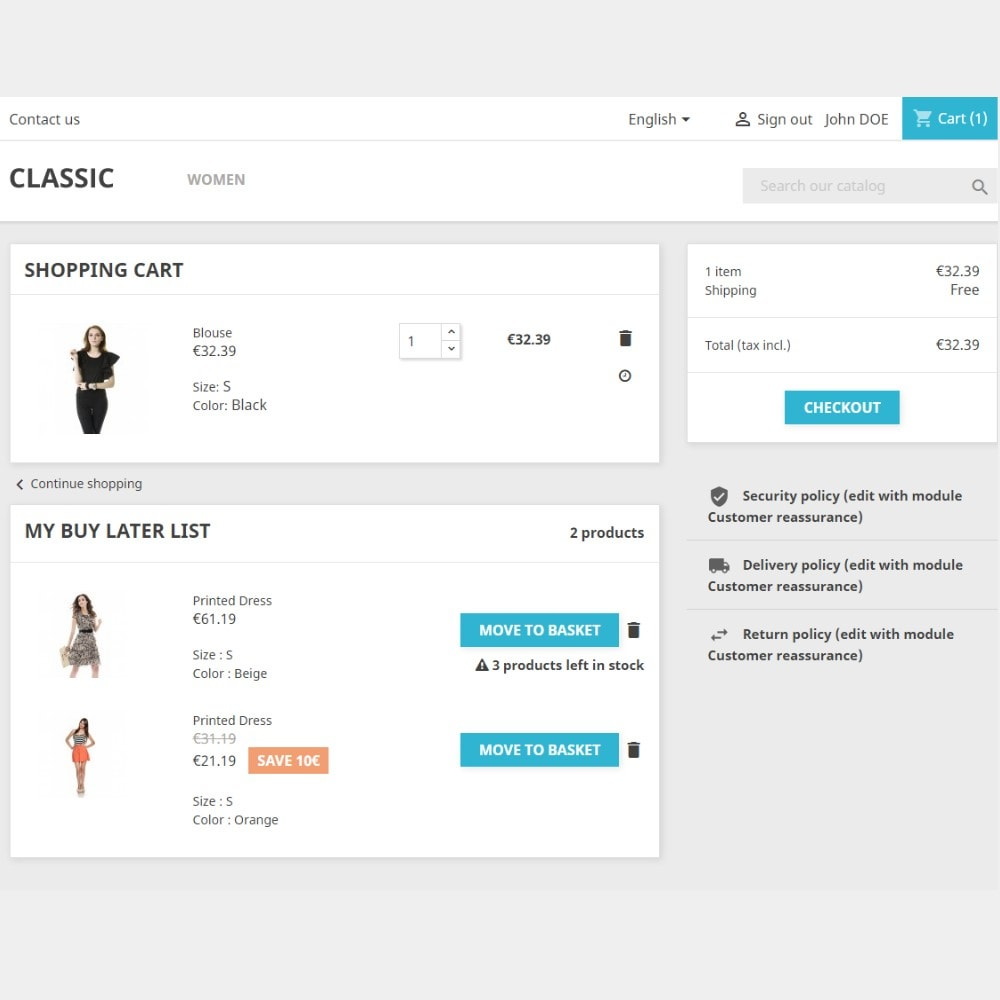 module - Whishlist & Gift Card - Buy Later (Save for later) - 2