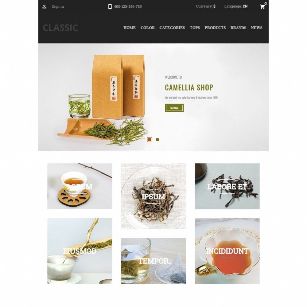 theme - Drink & Wine - Camellia Tea Store - 6