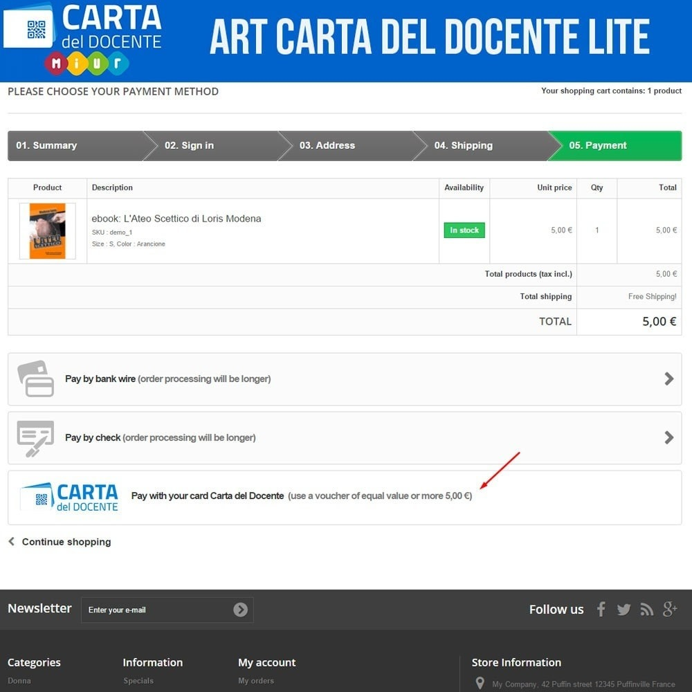 module - Other Payment Methods - Art POS GateWay Carta del Docente Light - 3