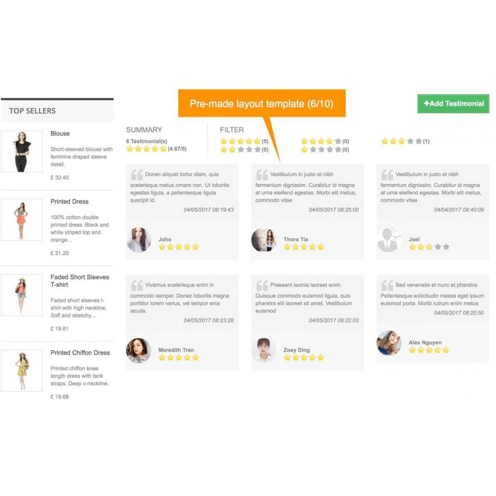 module - Recensioni clienti - Testimonials and Shop Reviews Pro - 8
