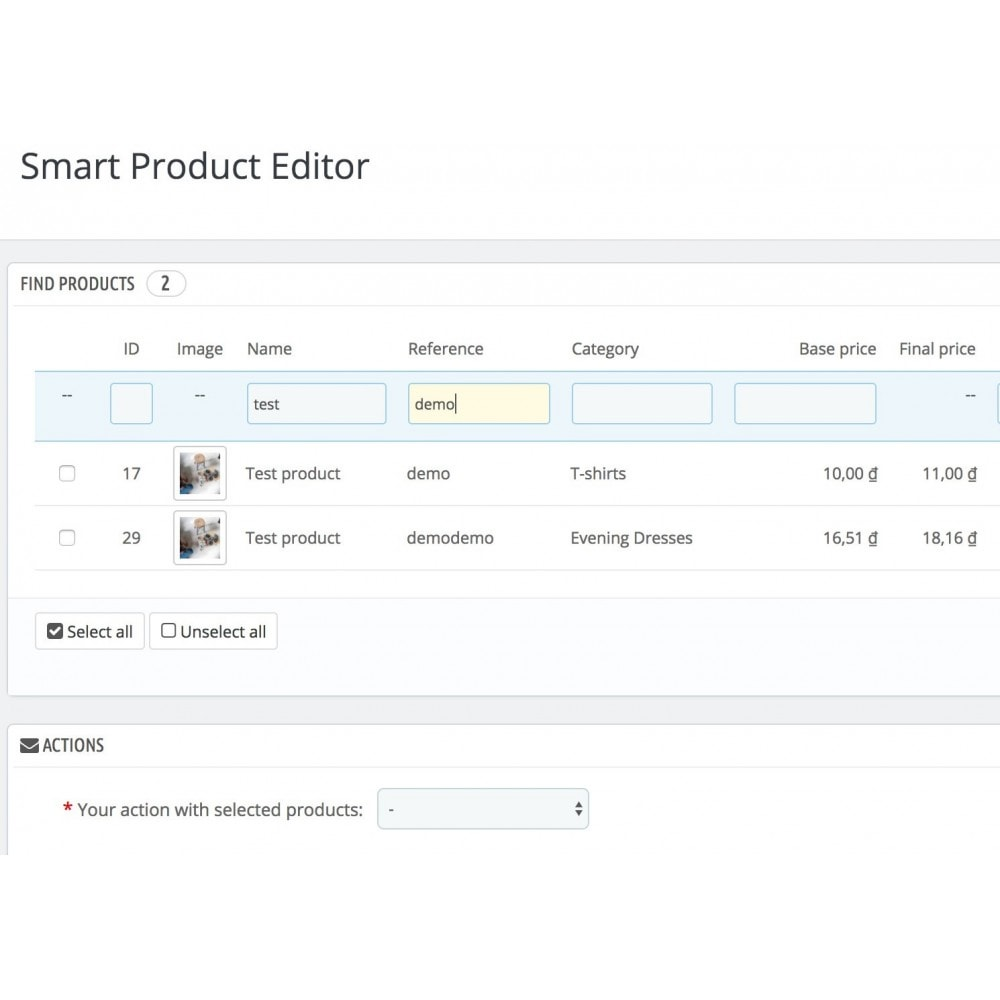 module - Edition rapide & Edition de masse - Smart Product Editor - 3