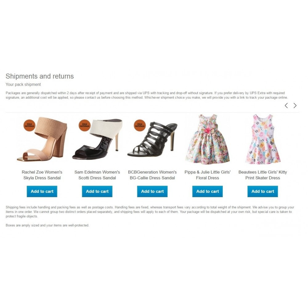module - Additional Information & Product Tab - CMS products / Show products in CMS pages - 1