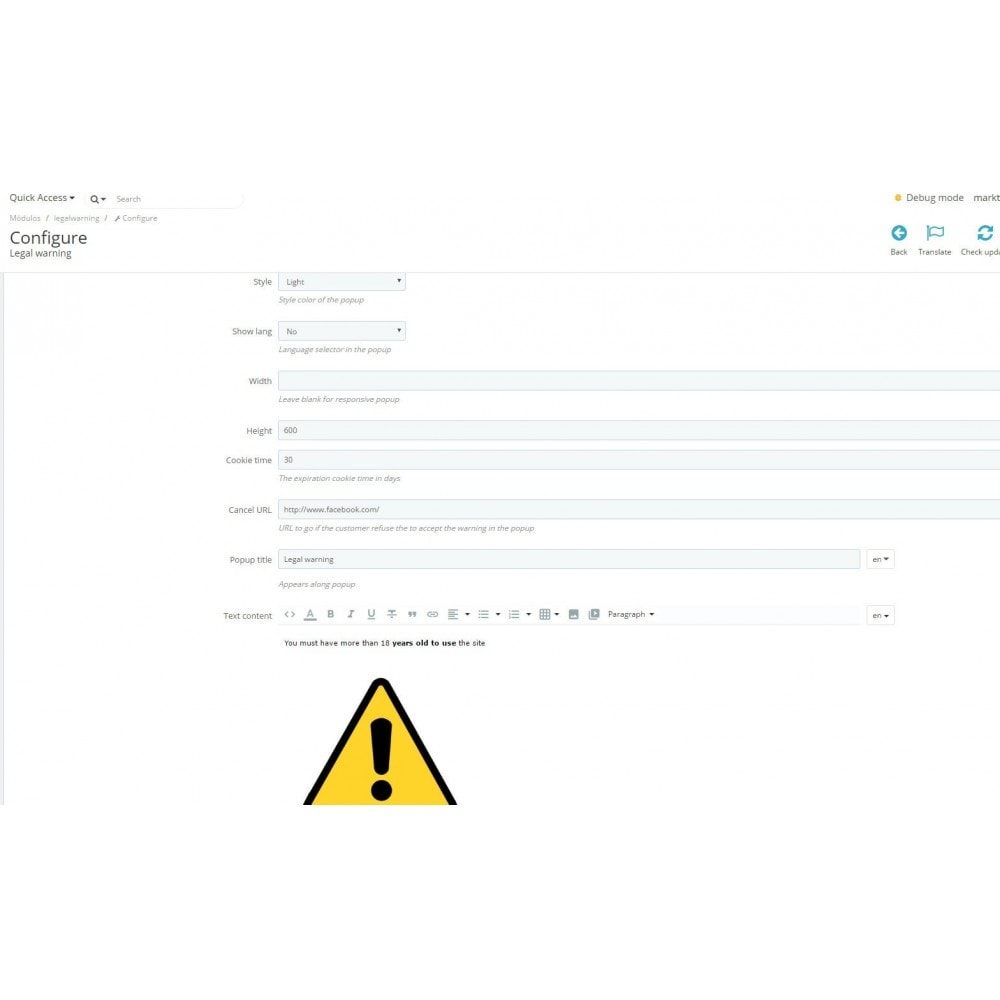 module - Seguridad y Accesos - Legal Warning - Terms popup - 2