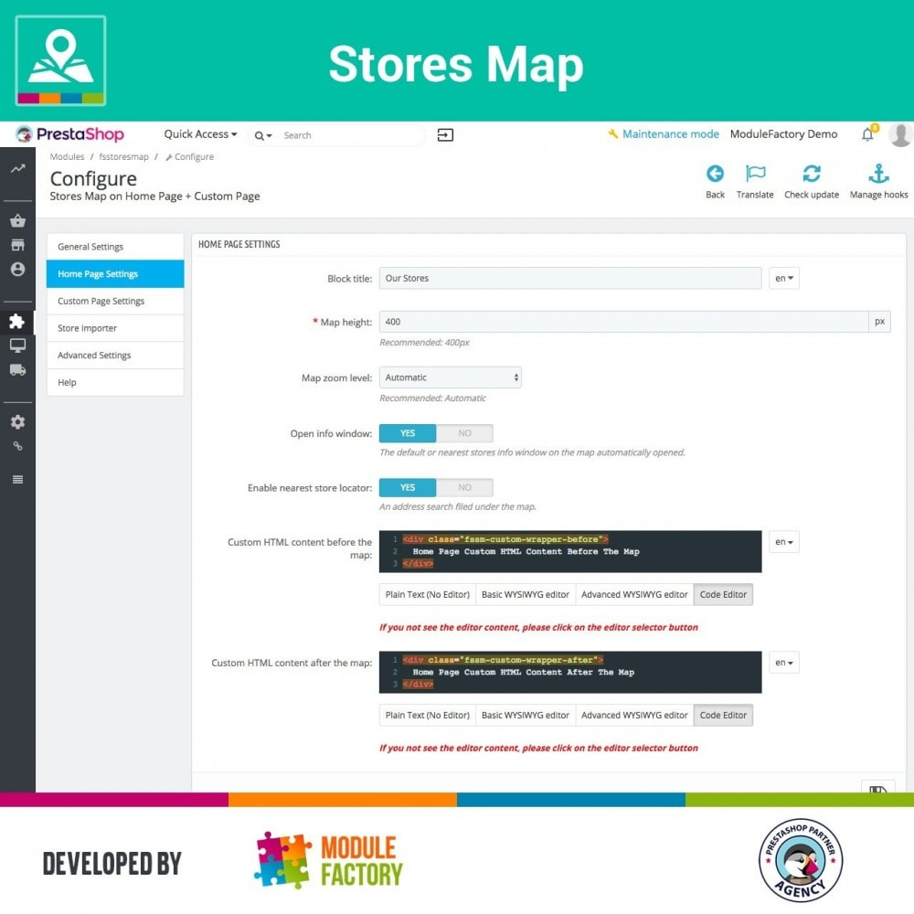 module - Internacional & Localização - Stores Map on Home Page + Custom Page - 6