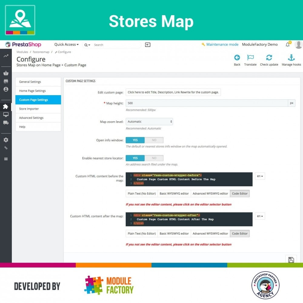 module - Internationalisierung & Lokalisierung - Stores Map on Home Page + Custom Page - 7